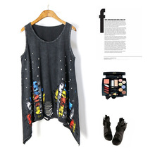 High quanlity black tassel cutout vest European and American style hole streetwear beading inkjet shirt Sexy punk rock tank top(China)