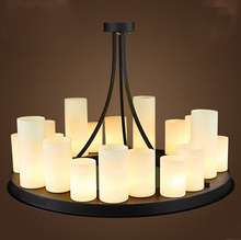 Circular led pendant lamp American retro French designer style marble candle holders droplight village restaurant glass