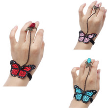 2017 Hot Handmade Womens Elegant Butterfly Jewelry Lace Bangle Bracelet Contact Finger for Wedding Party Free shipping Wholesale