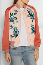 Yidora 2016 Autumn New Fashion Woman Embroidery Orange Nude Pink Contrast Color Bomber Baseball Jackets Elastic Hem Outwear