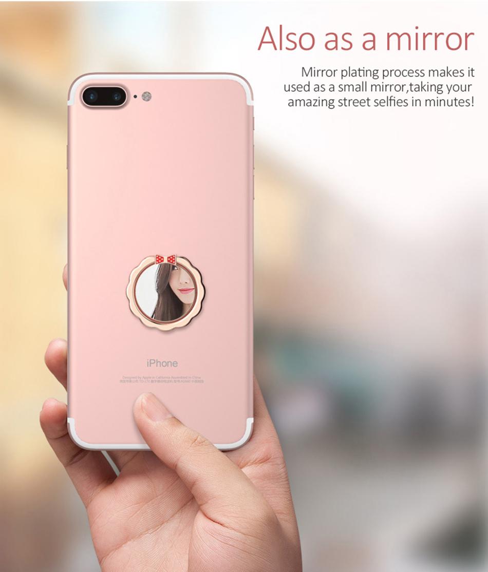 Original H&lOO mirror Ring Bracket Finger Grip Phone Desktop Holder Safe and Firm Built-in Iron Sheet for Most Mobile Phones (5)