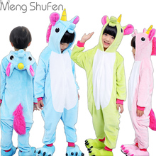 Girls Cute Unicorn Pajamas warm Autumn Winter Homewear unicornio Children's pajamas cartoon Animal pajamas for Kid boy Sleepwear(China)