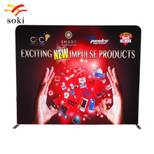 10ft Advertising Trade Show portable tension fabric trade show display pop up booth exhibit with custom graphic Single printing