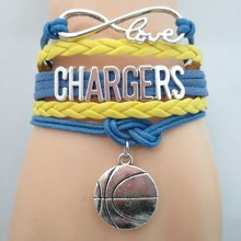 3pcs/lot hot sale CHARGERS basketball team bracelets infinity love chargers basketball bracelet cheer up bangle