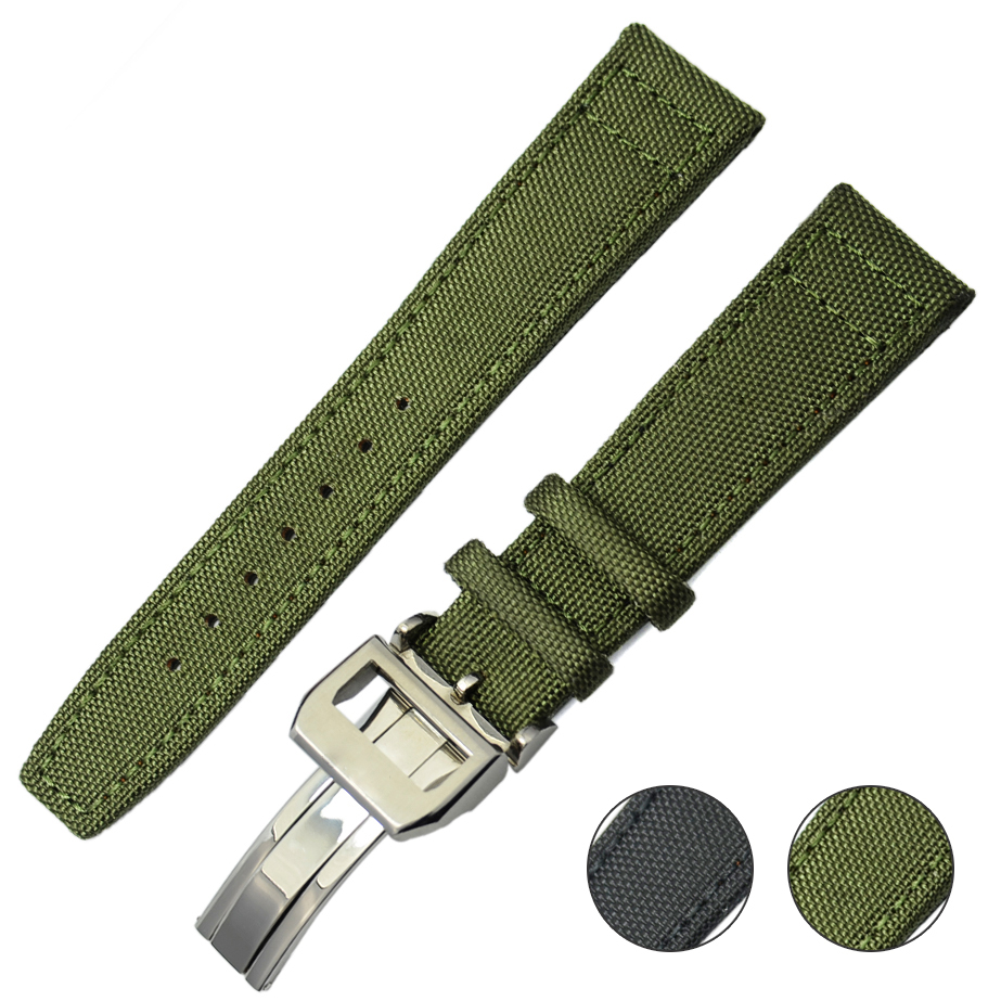 Watchbands Watch Leather Nylon Band Black Leather Strap Green Stainless Clasp Silver Genuine Men Women 19mm 20mm 22mm<br><br>Aliexpress