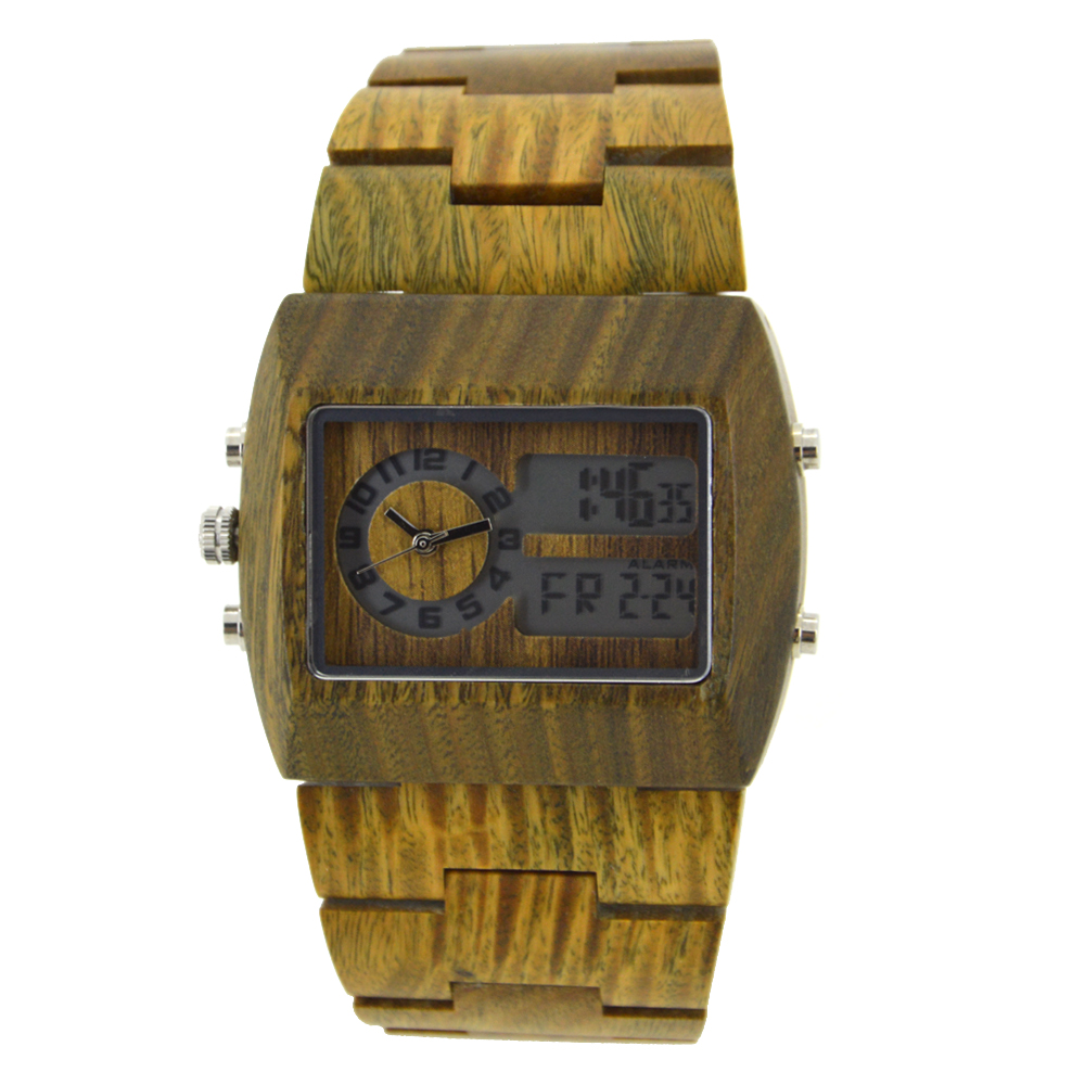 BEWELL Wood Digital And Quartz Glow Pointer Double Dial Watch For Business Men With Luxury Brand Multi-function Watches 021A<br>