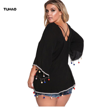TUHAO Women Beading Blouse 2017 Batwing Sleeves O-neck women casual Shirt Femme black White Women's plus size Shirt blouses DL28(China)