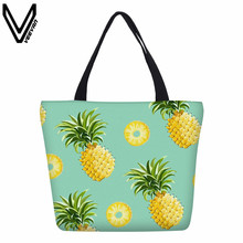 VEEVANV Women Shopping Bags Summer Pineapple Printed Canvas Cotton Tote Bags Eco Shopping Beach Bags Women Girl Shoulder Handbag(China)