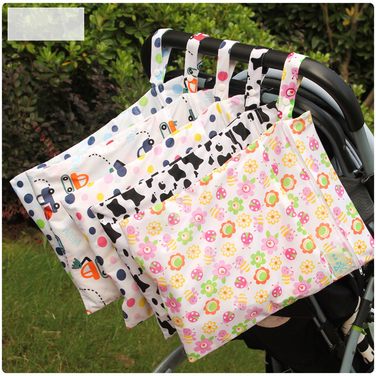 30*40cm cartoon single pocket diaper bag waterproof wet bag for baby diaper XJ