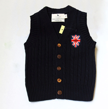 2015 Spring And Autumn Boy Vests 100% Cotton Vest Knitted Cardigan Coat Boy's Sweater Vest Boys Waistcoat Free Shipping(China)