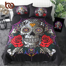 BeddingOutlet Sugar Skull Bedding Set Red Rose Duvet Cover Diamond Gothic Home Textiles Mandala Lotus Flower Bedclothes 3-Piece(China)