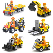 6pcs City Construction Team Bulldozer Excavator Forklift Drill Flatbed Truck Crane Model Building Block Toy Compatible with Lego