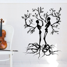 Skull Love Tree Sticker Punk Death Decal Halloween Devil Poster Name Car Window Art Wall Decals Parede Decor Mural(China)