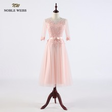 NOBLE WEISS Tea-Length Tull Lace Appliques Prom Dress 2017 Customized Fashion O-Neck Party Gown Dresses With Half Sleeves(China)