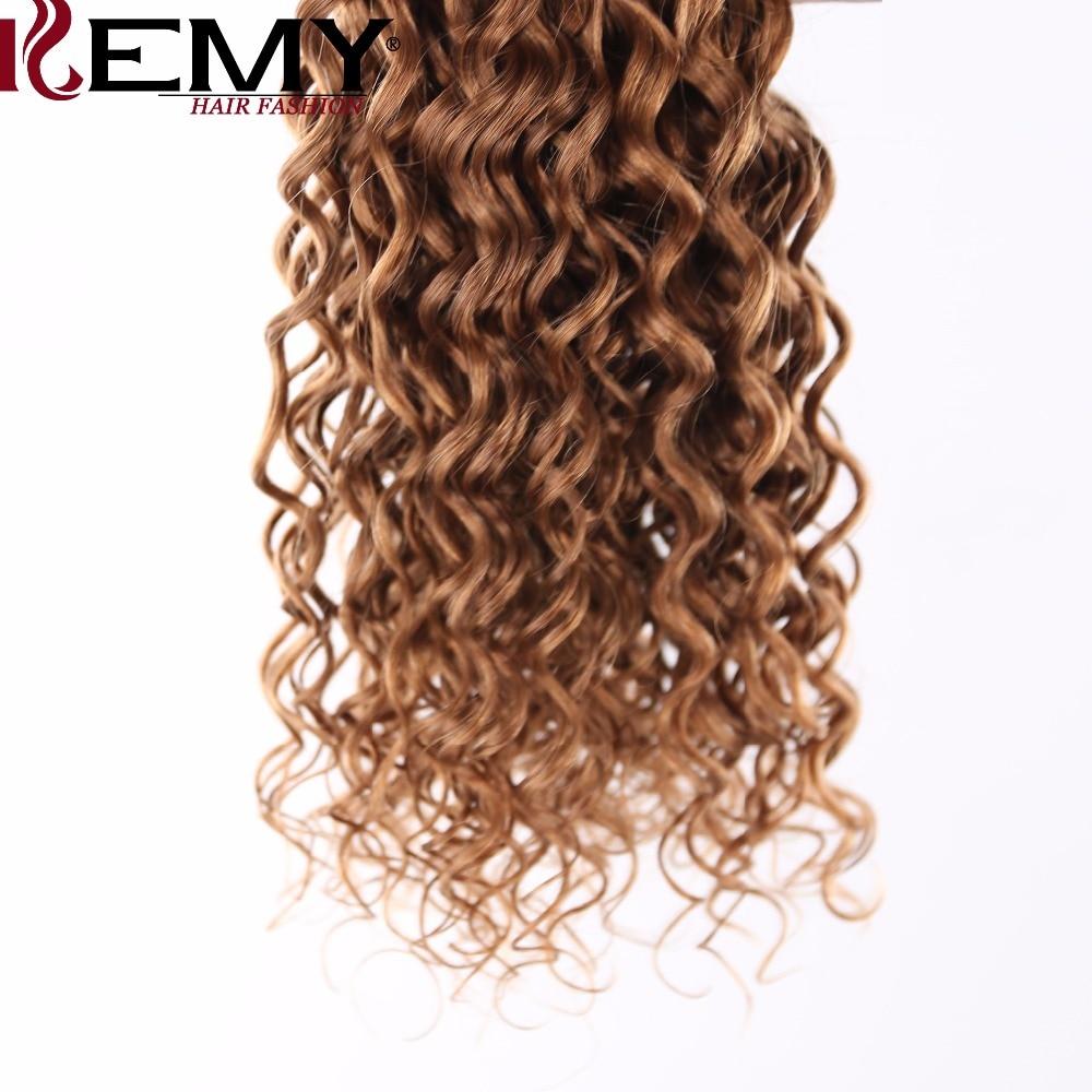 KEMY HAIR FASHION 3Pcs/Pack Pre-Colored 100% Brazilian Human Hair Bundles Water Wave Non-Remy Brown Human Hair Weave Extensions