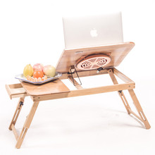 Biger Size Folding Wood Laptop Table Sofa Bed Office Stand Table Computer Desk With Cooler Pad Lap Desk With Cool Pad