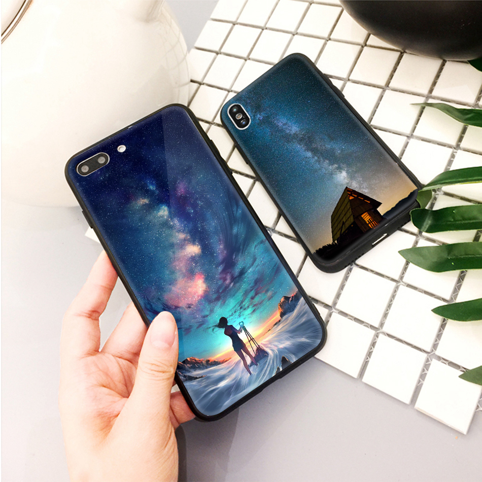 TOMKAS Star Sky Pattern Glass Case For iPhone X 7 8 6 6 s Cover Phone Cases For iPhone 7 8 6 6s Plus X Case Silione TPU PC Coque (12)