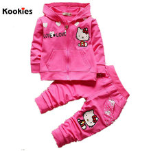 2017 Spring New Clothing Set Baby Girl Hooded Coat + Pants Hello Kitty Hoodies Jacket Costume For Kids Roupas Infantis KD469