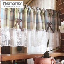 Kitchen Curtain Coffee Curtain Polyester Dust-Proof Pleated Plaid Pattern Decoration For Kitchen 1 PCS