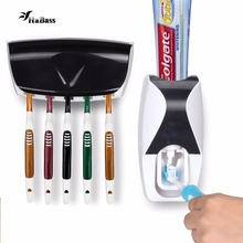 Creative Automatic Toothpaste Dispenser 5 Toothbrush Holder Set Wall Mount Stand Toothbrush Family Tools Accessories