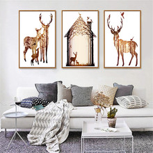 HAOCHU Elk House Forest Impressed Canvas Painting Animal DIY Picture Nordic Modern Home Decor Wall Art Poster Christmas Supplies(China)