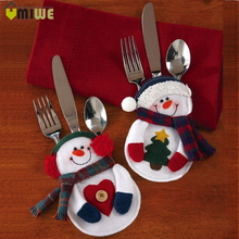 8pcs/set Christmas Decorations Snowman Cutlery Bags Christmas Santa Claus Kitchen Dining Table Cutlery Suit Set Christmas Gifts