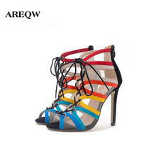 AREQW 2017 Summer new large yards hollow mesh yarn cross straps Roman shoes fine with multi-color high heels women's sandals