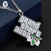 PS4 GTA 5 Game necklace Grand Theft Auto 5 necklaces For Fans Xbox PC Rockstar Pendant Holder 4.5cm Jewelry Llaveros