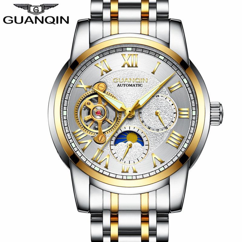relogio masculino GUANQIN Brand Luxury Men Business Tourbillon Skeleton Watches Full Steel Waterproof Automatic Mechanical Watch<br>