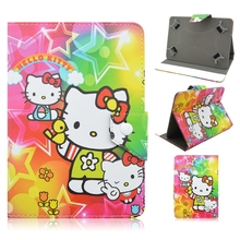 New Hello Kitty Cartoon Universal 7 inch Tablet Case PU Leather Stand Cover For Samsung 7.0 Case For Kids(China)