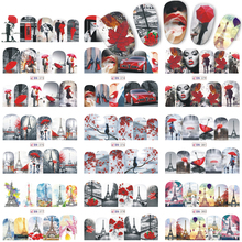 1 Sheets Nail Sticker Nail Art Decal Water Transfer 12 Designs Red Color Beauty Romantic Designs for Nail Art TRBN373-384