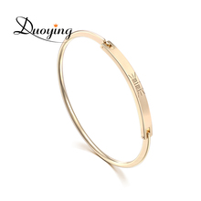Duoying Personalize Engraved Bracelet Copper 45*4 mm Gold Bar DIY Initial Name Bangle Bracelet Women Jonc Bracelet for Etsy eBay(China)