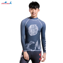 Men's Long Sleeve Surf Swim Rash Guard Swimwear Diving Swimming Shirt Sun-Protective Rashguard UPF 50+ Lycra Print Grey Youth