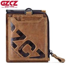 GZCZ Wallet Men Coin Pocket Purse Men's Genuine Leather Walet Male Purse Small Portomonee Clamp For Money LOGO Ukiran Kulit(China)