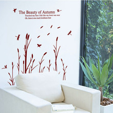 "Free Shipping 2015New PVC Reed Flowers ""the Beauty of Autumn"" Wall Stickers Home House Windows Removable Wall Decal Stickers DIY(China)"