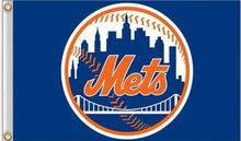 New York Mets MLB Flag 3X5FT Flag Hot Sale Products 90x150 cm Sports Outdoor Flag Brass Metal Custom Flag Holes, Free Shipping