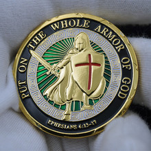 Put on the whole armor of God Commemorative Challenge Coins The Sword of Damocles Enamel Knight Drop Shipping