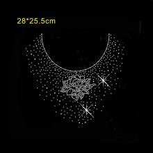 2pc/lot Sweater neckline design rhinestone applique patch hot fix rhinestone motif hand sew patch for shirt bag coat
