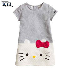 2017 Aile Rabbit Summer Dress For Girls Short Sleeve Dress Kitty Gray White Patchwork Ropa European Style Casual Clothes Baby