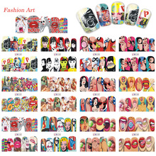 1 Sets 12 Designs Nail Art Fashion 2017 Cool Red Lips Full Sticker Nail Decals Water Transfer Tips Manicure Tools TRBN349-360(China)