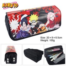 Gifts Naruto Shippuden Anime Color Pattern Double Zipper Pencil Bag Storage Bag #40805