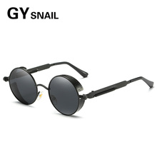 GY 2017 fashion Men Gothic Steampunk Sunglasses Women Aluminum Magnesium Polarized Round Oculos Metal trend personality frame(China)