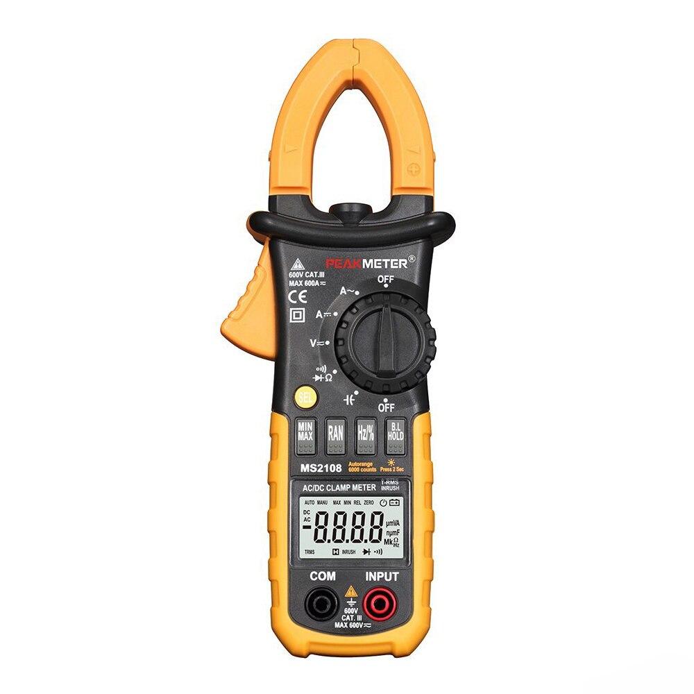 HHTL-PEAKMETER MS2108 6600 Counts Auto And Manual Range AC/DC Mini Digital Clamp Meter Multimeter AC DC Voltage Current Resist<br>