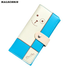 Women  wallet  Fashion Cartoon Stitching Lady Card Pack Pu Leather Girl long Wallet Red Color Carrying Bag