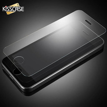 KISSCASE Tempered Glass Screen Clear Crystal Protector For iPhone 5 5S se 5G High Quality Wholesale Support Front Film(China)