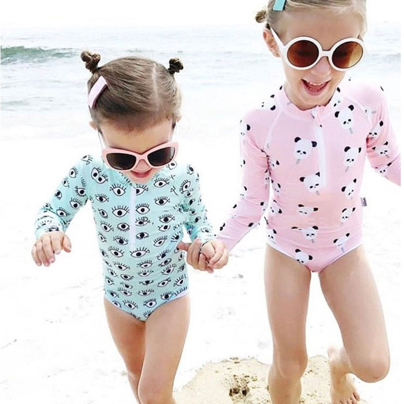 UPF 50+ Kids Swimwear Summer Baby Girls Bikini Suit Panda Eyes Long Sleeve Swimsuit Boys Bathing One-Piece Swimming Clothes New(China)