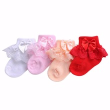 4 Pairs/lot Christening Party Baby Socks For Newborn Girls Solid Color;Frilly Princess Calcetines Nina Bow-knot Chaussette Bebe