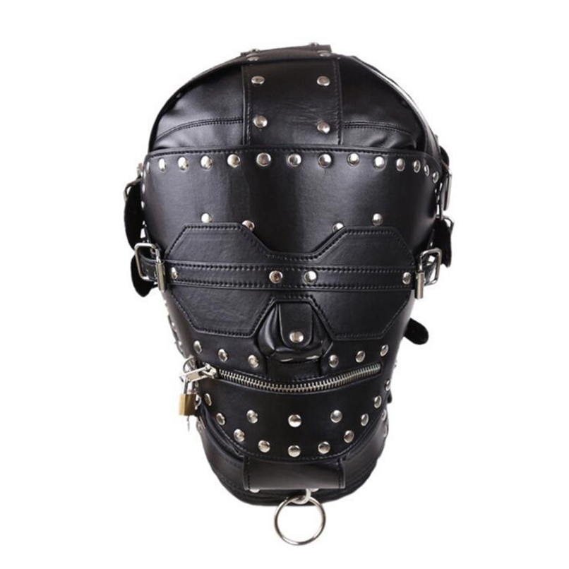 PU Leather Hood Masks Adult Products Fetish Full Cover Head Bondage Restraints Mask Lock Cosplay Slave Sex Toy Couples