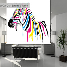 MOMO Thermal Insulated Blackout Fabric Custom Horse Window Roller Shades Blinds, Alice 251-253