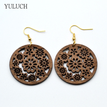 New Arrival african wood Leaf earrings jewelry pair 2016  new design personality hollow  latest  good quality